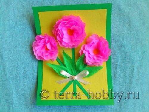 объемная открытка с розами своими руками