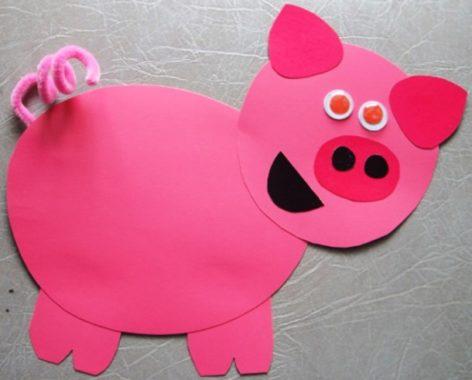 аппликация свинка из бумаги
