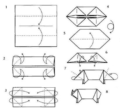 схема оригами свинья