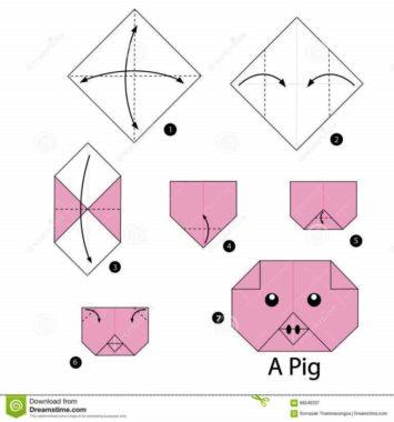 схема свинки оригами
