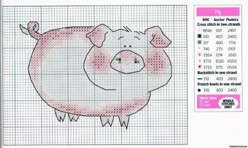 схема вышивки свиньи