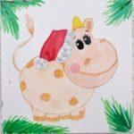 """<span class=""""title"""">Как нарисовать бычка Гаврюшу красками: новогодний рисунок в подарок</span>"""