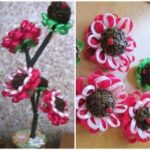 Миниатюра к статье Кофейно-цветочный топиарий из кофе и атласных лент
